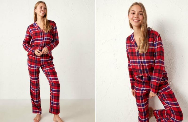 Ekose desenli kadın pijama takımları