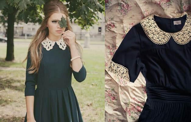en güzel yakalı elbise modelleri