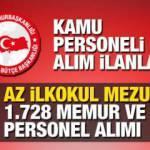 Kamuya ve belediyelere KPSS 60 puan ile 1.728 memur ve personel alımı yapılacak! Kamu 2021 ilanları