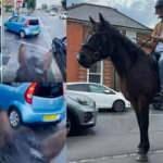 İngiltere'de krizin fotoğrafı! Benzin almaya atla geldi