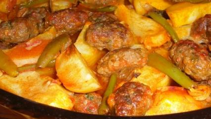 Fırında enfes köfte patates nasıl yapılır? Sulu fırında köfte patates yemeği tarifi