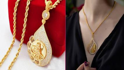 En güzel tuğralı altın kolye modelleri 2021 Tuğralı altın kolye fiyatları