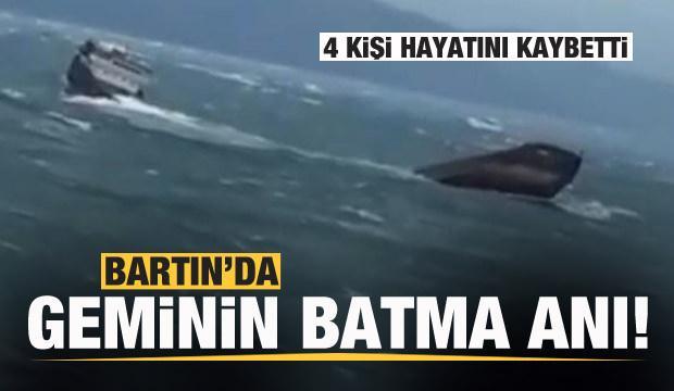 Bartın'da geminin batma anı kamerada!