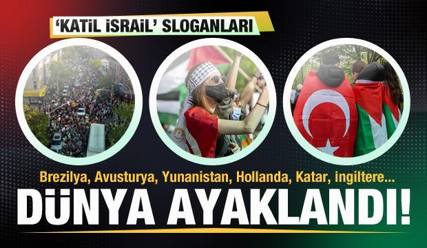 Dünya ayaklandı! Meydanlarda 'Katil İsrail' sesleri