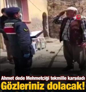 Ahmet dede, Mehmetçiği asker selamı ile karşıladı