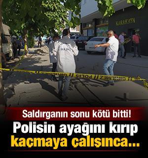 Polisin ayağını kırıp kaçmaya çalışınca saldırganın sonu kötü bitti!