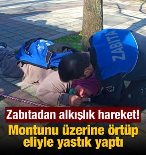Bursa'da zabıtadan alkışlanacak hareket! Düşen kadına montunu verip, eliyle yastık yaptı
