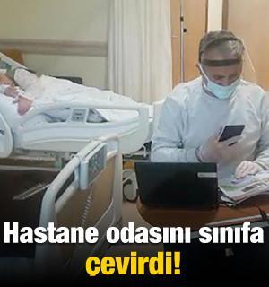 Mustafa öğretmen hastane odasını sınıfa çevirdi!