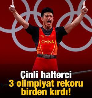 Çinli halterci 3 olimpiyat rekoru birden kırdı!